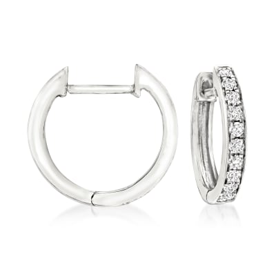 .15 ct. t.w. Diamond Huggie Hoop Earrings in 14kt White Gold