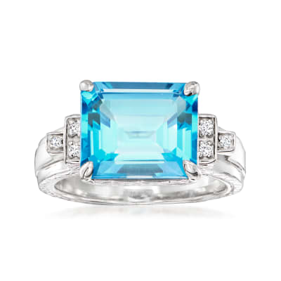 "Andrea Candela ""Gatsby"" 6.70 Carat Swiss Blue Topaz Ring with Diamond Accents in Sterling Silver"