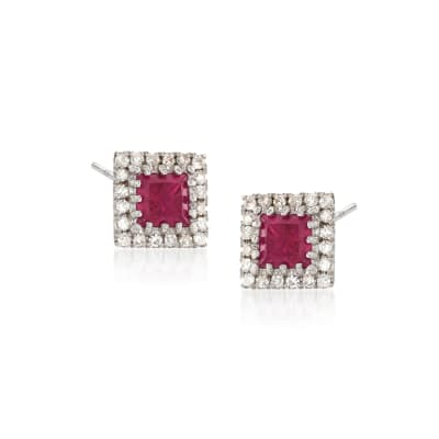 .50 ct. t.w. Ruby and .14 ct. t.w. Diamond Square Earrings in 14kt White Gold