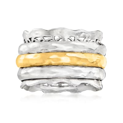 Sterling Silver and 14kt Yellow Gold Spinning Band Ring