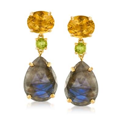 9.40 ct. t.w. Multi-Gemstone Drop Earrings in 18kt Gold Over Sterling