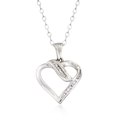 C. 1990 Vintage .10 ct. t.w. Diamond Open-Space Heart Pendant Necklace in 10kt and 14kt White Gold
