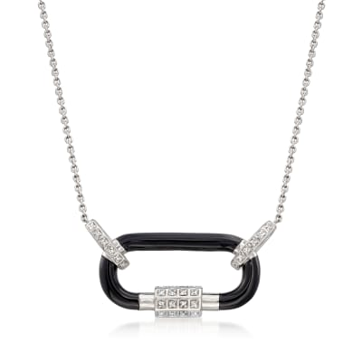 .12 ct. t.w. Diamond Carabiner-Link Necklace with Black Enamel in Sterling Silver