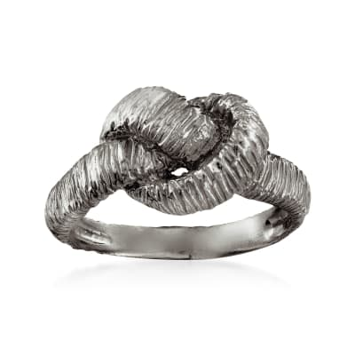 Italian Sterling Silver Textured Knot Ring in Black