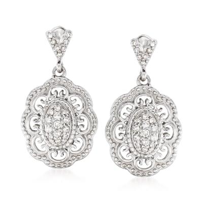 .25 ct. t.w. Diamond Filigree Drop Earrings in Sterling Silver