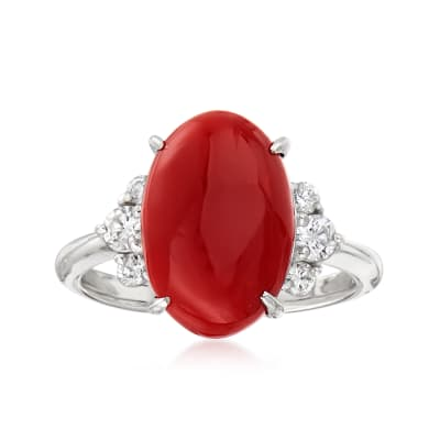 C. 1990 Vintage Red Coral and .31 ct. t.w. Diamond Ring in Platinum