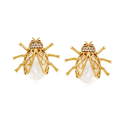 11.5-12mm Cultured Pearl and .31 ct. t.w. Diamond Beetle Earrings with Ruby Accents in 14kt Yellow Gold