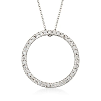 Roberto Coin .26 ct. t.w. Diamond Open Circle Pendant Necklace in 18kt White Gold