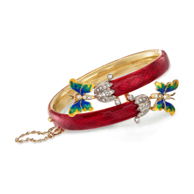 C. 1960 Vintage .80 ct. t.w. Diamond Butterfly Bypass Bangle Bracelet with Multicolored Enamel in 18kt Yellow Gold