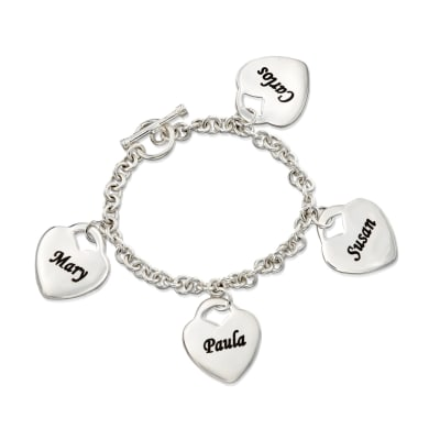 Sterling Silver Personalized 4-Heart Charm Bracelet