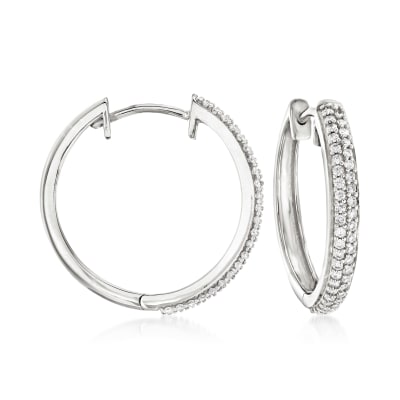 .34 ct. t.w. Diamond Hoop Earrings in Sterling Silver