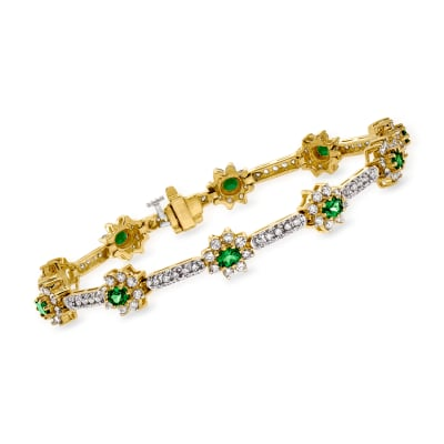 C. 1990 Vintage 2.50 ct. t.w. Diamond and 2.00 ct. t.w. Tsavorite Bracelet in 18kt Yellow Gold