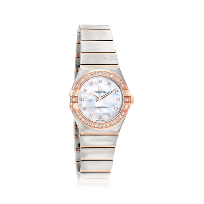 Omega Constellation Women's 27mm Swiss Quartz Stainless Steel and 18kt Rose Gold Watch