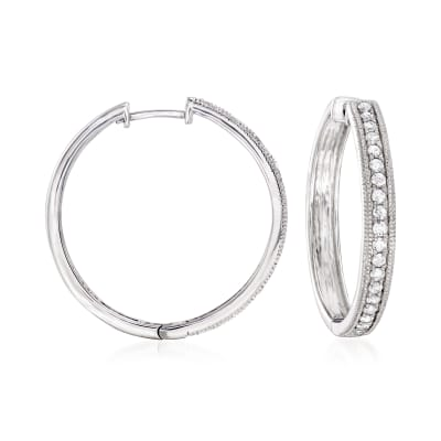 .50 ct. t.w. Diamond Hoop Earrings in Sterling Silver