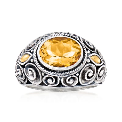 2.40 Carat Citrine Bali-Style Ring in Sterling Silver with 18kt Yellow Gold