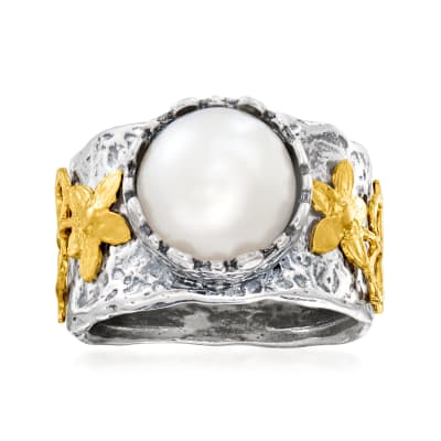10mm Cultured Pearl Ring in Two-Tone Sterling Silver
