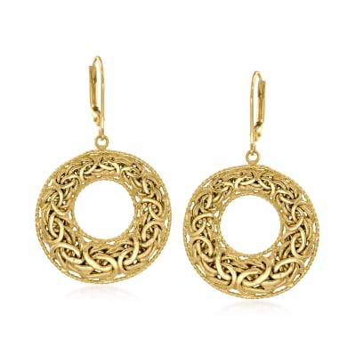 18kt Gold Over Sterling Byzantine Open-Circle Drop Earrings