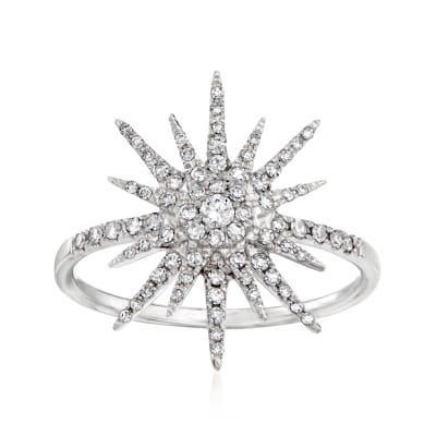 .30 ct. t.w. Diamond Starburst Ring in 14kt White Gold