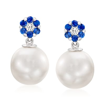 10-10.5mm Cultured Pearl Drop Earrings with .30 ct. t.w. Sapphires and .12 ct. t.w. Diamonds in 14kt White Gold