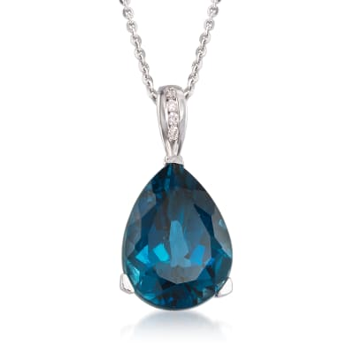 13.00 Carat London Blue Topaz Pendant Necklace with Diamond Accents in Sterling Silver