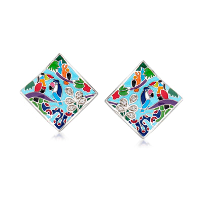 "Belle Etoile ""Tropical Rainforest"" Blue and Multicolored Enamel Earrings with .10 ct. t.w. CZs in Sterling Silver"