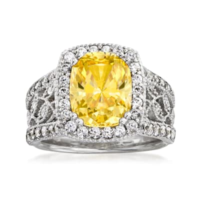 3.97 ct. t.w. Yellow and White CZ Floral Ring in Sterling Silver