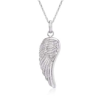 Sterling Silver Single Angel Wing Pendant Necklace