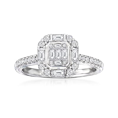 .50 ct. t.w. Diamond Cluster Ring in 18kt White Gold