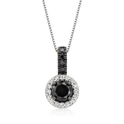 2.00 ct. t.w. Black and White Diamond Pendant Necklace in Sterling Silver