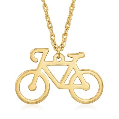 14kt Yellow Gold Bicycle Pendant Necklace