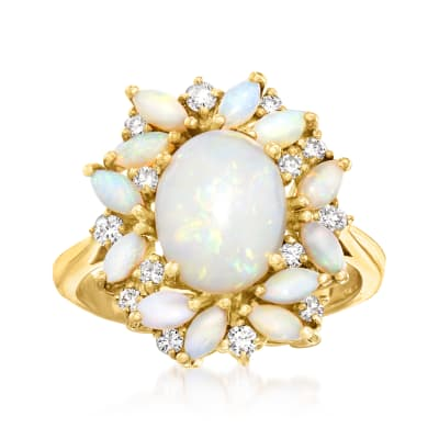 Opal and .25 ct. t.w. Diamond Halo Ring in 14kt Yellow Gold