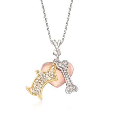 .33 ct. t.w. Diamond Dog Charm Necklace in Tri-Colored Sterling Silver