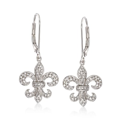.28 ct. t.w. Diamond Fleur-De-Lis Drop Earrings in Sterling Silver