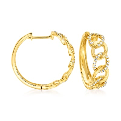 .50 ct. t.w. Diamond Link Hoop Earrings in 18kt Gold Over Sterling