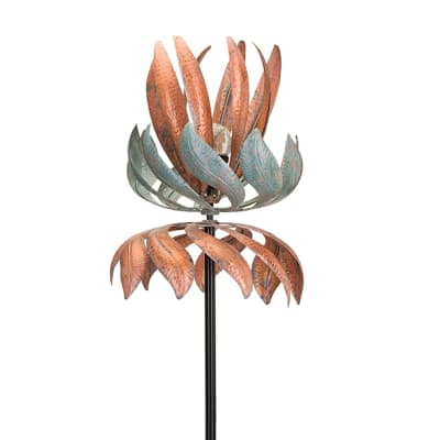 "Regal ""Flying Lotus"" Outdoor Decorative Solar Garden Wind Spinner"