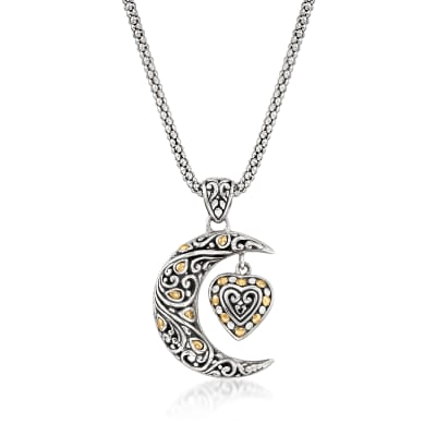 Sterling Silver Bali-Style Crescent Moon and Heart Pendant Necklace with 14kt Yellow Gold