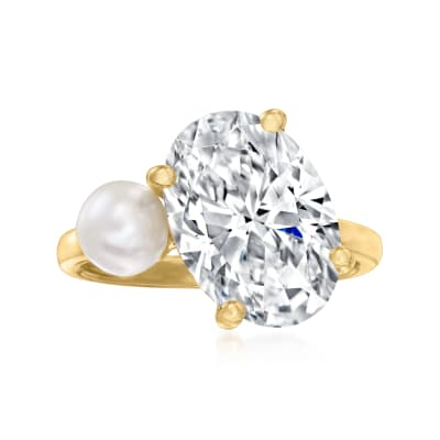 5.5-6mm Cultured Pearl and 5.80 Carat Oval CZ Ring in 18kt Gold Over Sterling