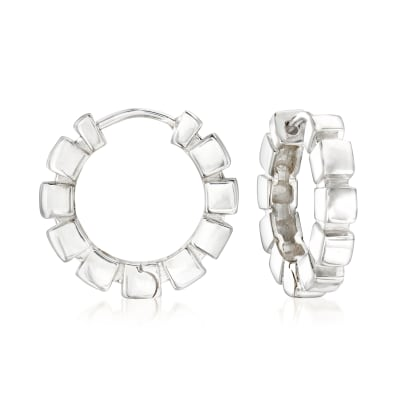 "Zina Sterling Silver ""Ice Cube"" Hoop Earrings"