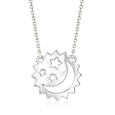 Sterling Silver Moon and Stars Necklace