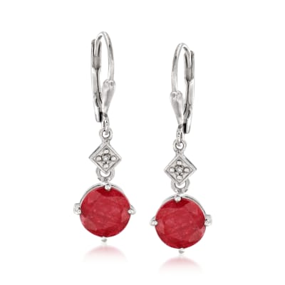 4.80 ct. t.w. Ruby Drop Earrings with Diamond Accents in Sterling Silver