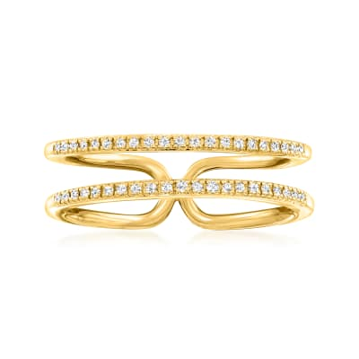.10 ct. t.w. Diamond Double-Row Open-Space Ring in 18kt Gold Over Sterling
