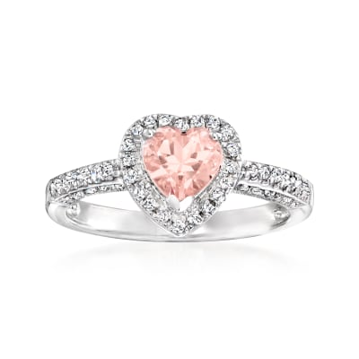 1.00 Carat Morganite and .23 ct. t.w. Diamond Heart Ring in Sterling Silver