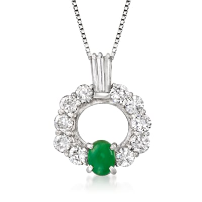 C. 1990 Vintage Jade and 1.50 ct. t.w. Diamond Pendant Necklace in Platinum