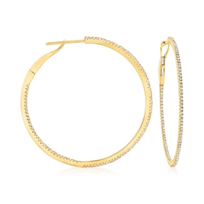 .54 ct. t.w. Diamond Inside-Outside Hoop Earrings in 14kt Yellow Gold
