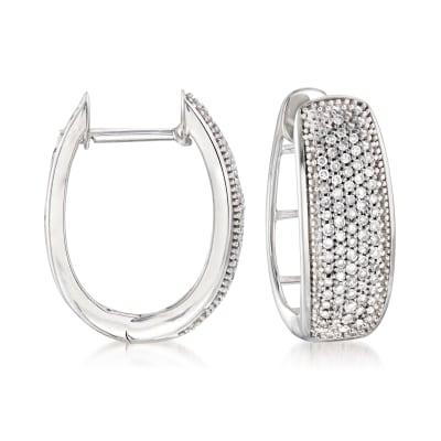 .25 ct. t.w. Pave Diamond Hoop Earrings in Sterling Silver