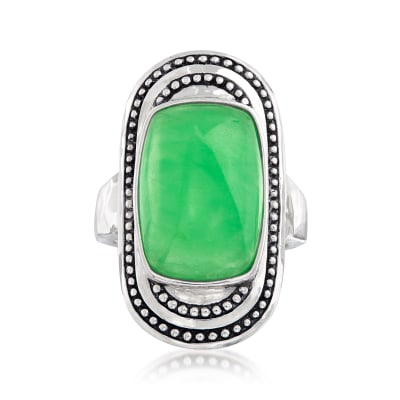 Jade Ring in Sterling Silver