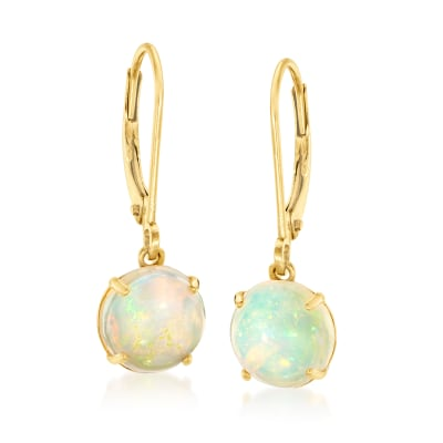 Opal Drop Earrings in 14kt Yellow Gold