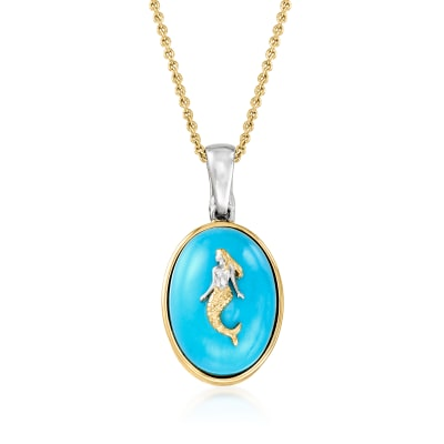 Turquoise Mermaid Pendant Necklace in 18kt Gold Over Sterling