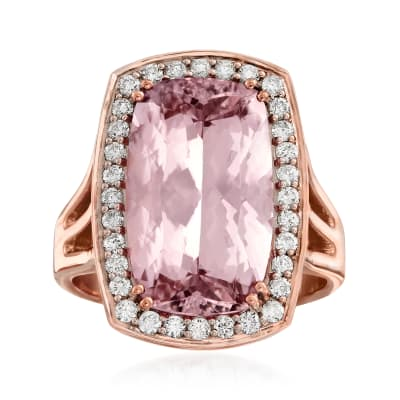 6.75 Carat Morganite and .44 ct. t.w. Diamond Ring in 14kt Rose Gold