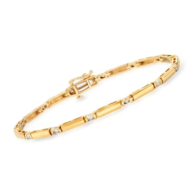 .50 ct. t.w. Diamond Bar Bracelet in 18kt Gold Over Sterling